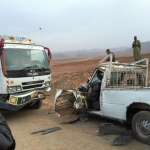 حادثة سير بين شاحنة وبكوب على الطريق الوطنية رقم 10