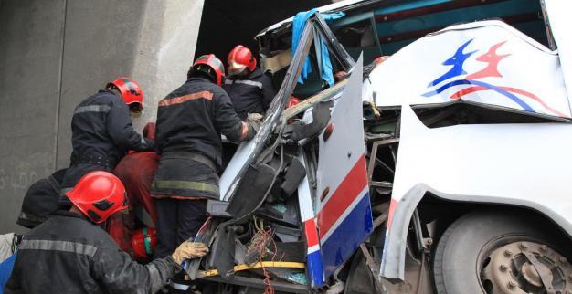 حادثة سير لحافلة قادمة من زاكورة في اتجاه الدار البيضاء