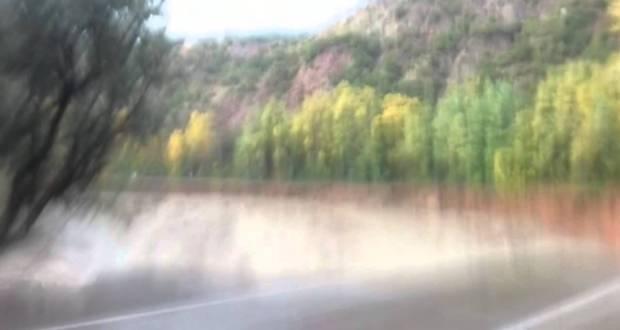 فيديو للإنهيار بالطريق رقم 9 بين تزليضدة وتدارت