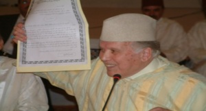 الأستاذ التازي أثناء تقديمه لعرضه حول قصيدة ابن رشيد بزاكورة