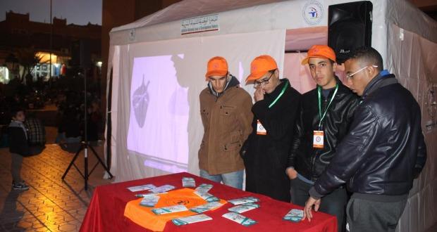 الشهاب تواصل حملاتها التحسيسية حول أضرار السيجارة و تبدع في نصب خيمة تحسيسية بساحة الموحدين -2