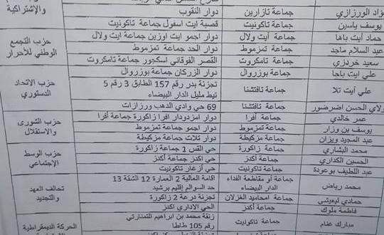 لوائح المرشحين يإقليم زاكورة