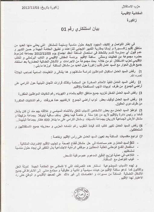 بيان ناري لمفتشية حزب الإستقلال بزاكورة يتهم فيها عامل الإقليم بالتواطؤ