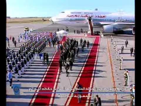 وصول العاهل المغربي الى مطار قرطاج بتونس
