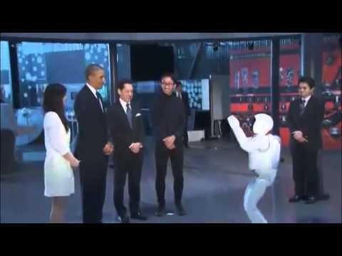 كيف إستقبلَ روبوتٌ يابانِي الرئيس الأمريكي!