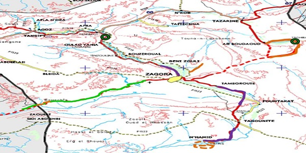 حصيلة المنجزات الطرقية على صعيد إقليم زاكورة ما بين سنة 2012 وسنة 2015